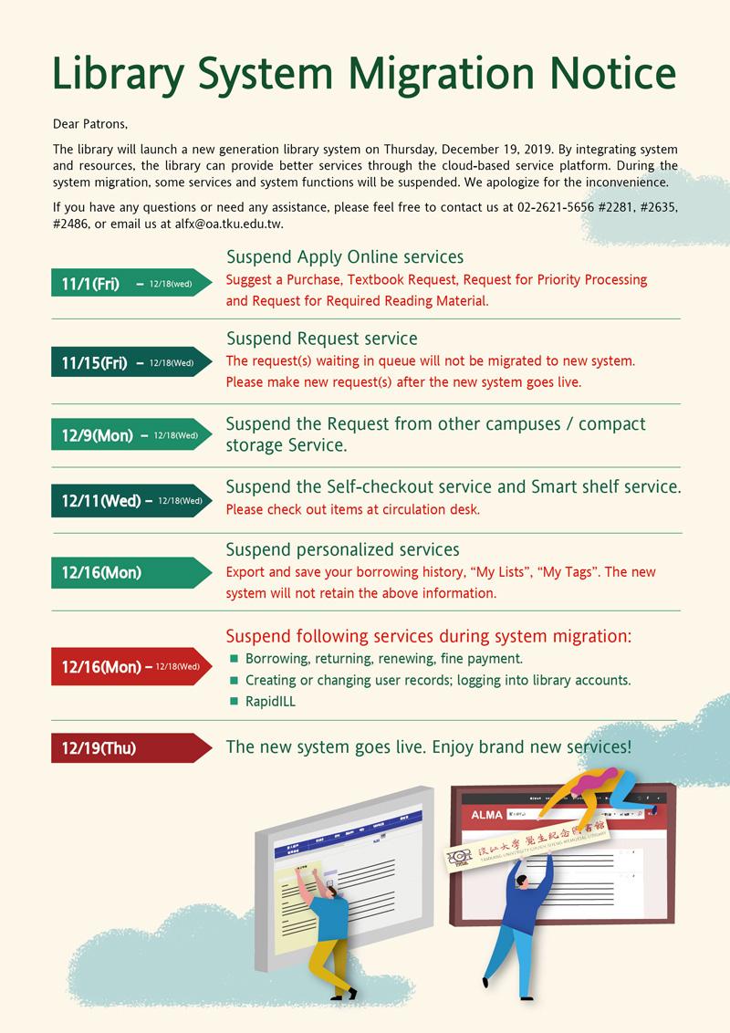 活動海報:圖書館系統轉換公告